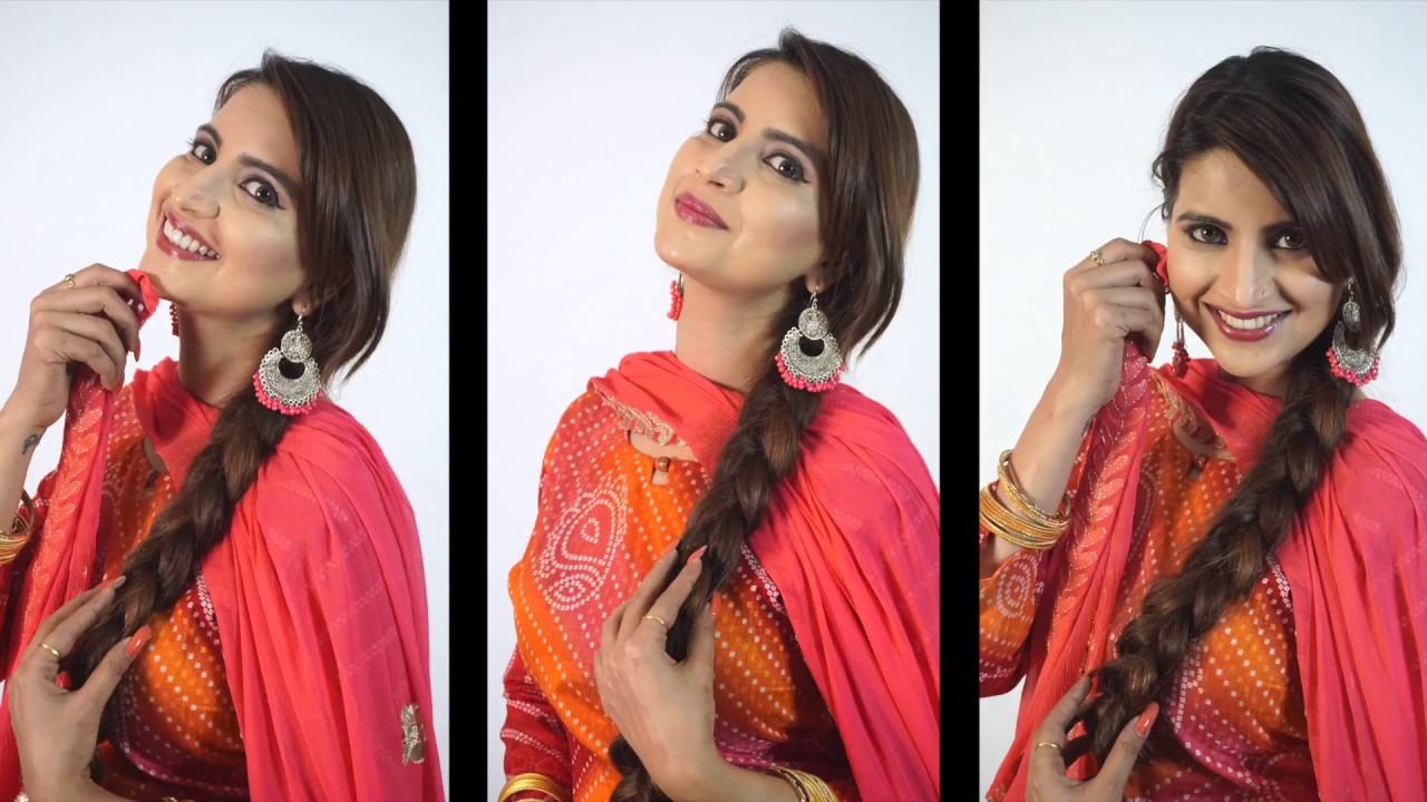 How To Make Simple Braid Punjabi Choti Hair Style For Girls Youtube