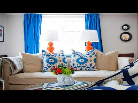 Blue Curtain Designs Living Room