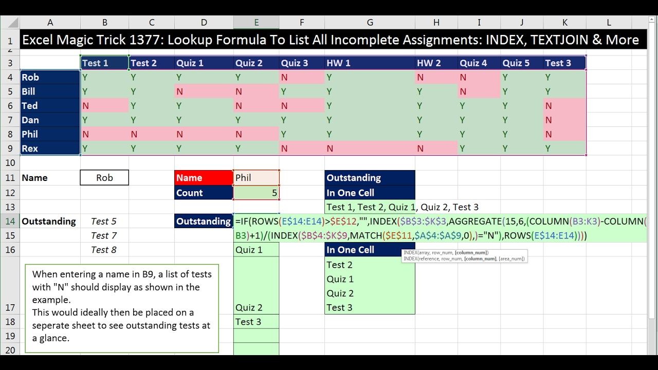 excel magic trick 1377 lookup formula to list all incomplete