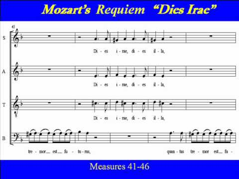 mozart and verdi requiems dies irae Dies is the latin word for day irae is the latin their own (free) music to accompany it, music of a highly dramatic nature examples include the mozart and verdi requiems in these cases, the music is treated reverently examples of the dies irae in program music as cited above.