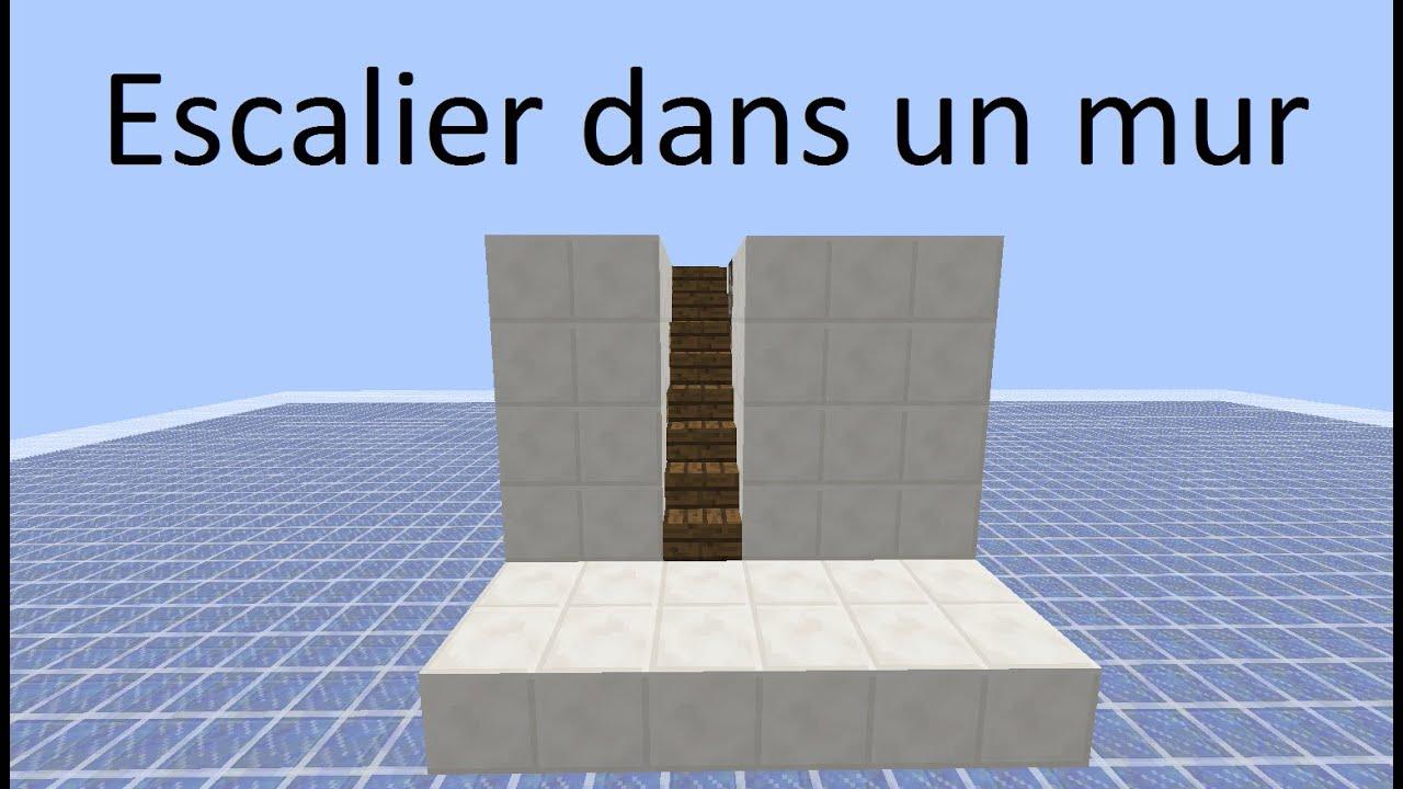 minecraft tuto escalier cach dans un mur youtube. Black Bedroom Furniture Sets. Home Design Ideas