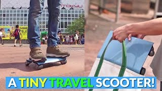 Tiny Flat Electric Hoverboard Scooter Fits Right In Your Bag