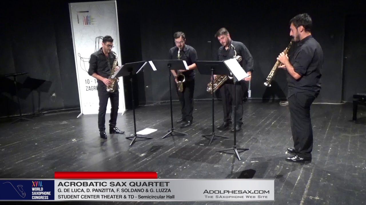 Jazz Fugue by Daniele Panzitta   Acrobatic Saxophone Quartet   XVIII World Sax Congress 2018 #adolph