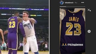 Luka Doncic Gets SIGNED JERSEY from LeBron James and a lot of Admiration