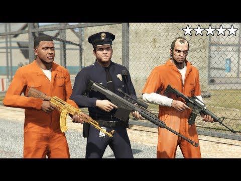 GTA 5 - Michael, Franklin and Trevor VS FIVE STAR PRISON BREAK! (Sandy Shores Airfield Plane Escape)
