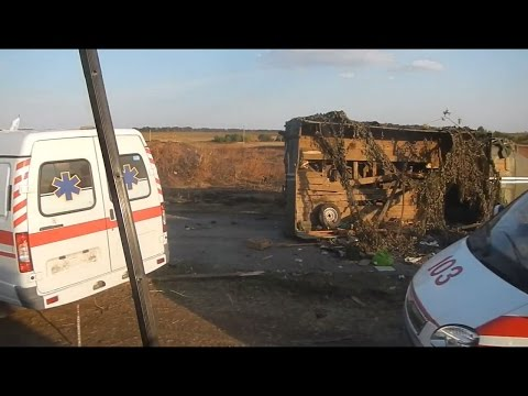 August 2014 Ambulances takes away dead Ukrainian soldiers bodies.