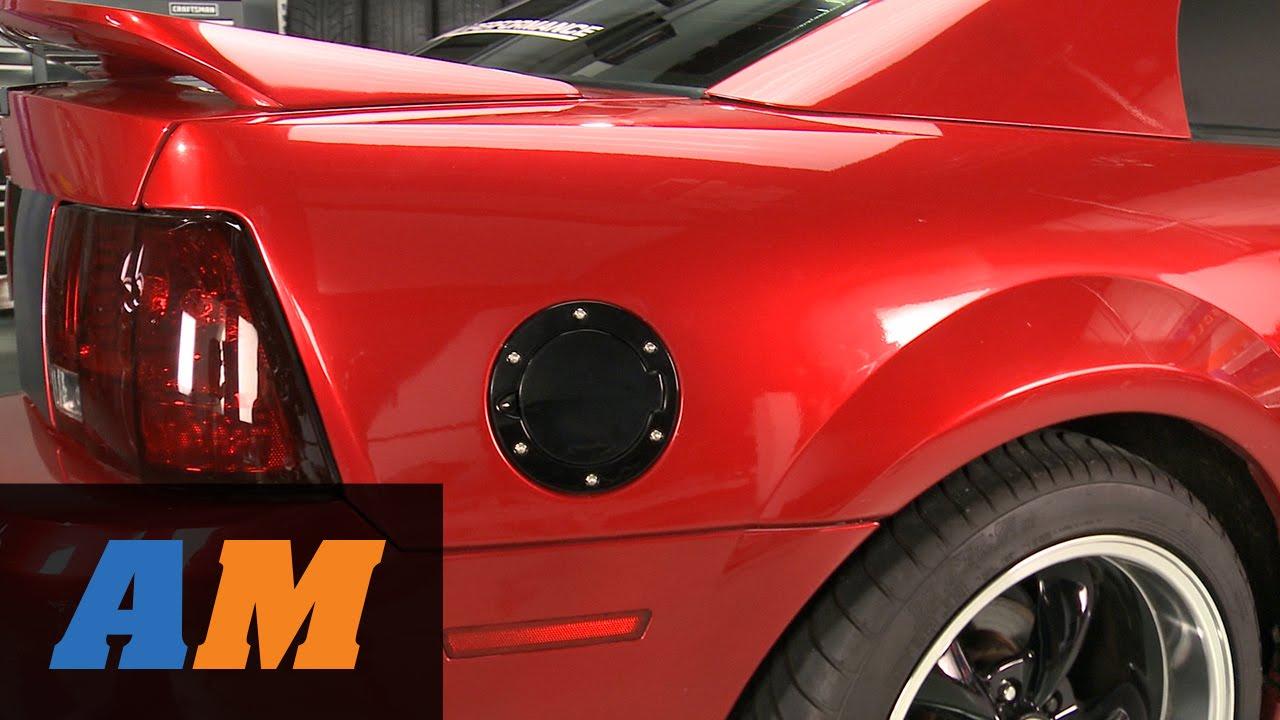 Mustang Bullitt Style Aluminum Fuel Door Black And