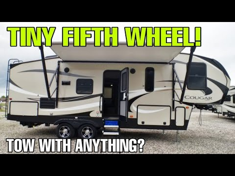 TINY FIFTH WHEEL RV tour. Towable by anything? let's find out!