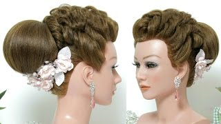 Bridal hairstyle for long hair tutorial. Wedding updo.