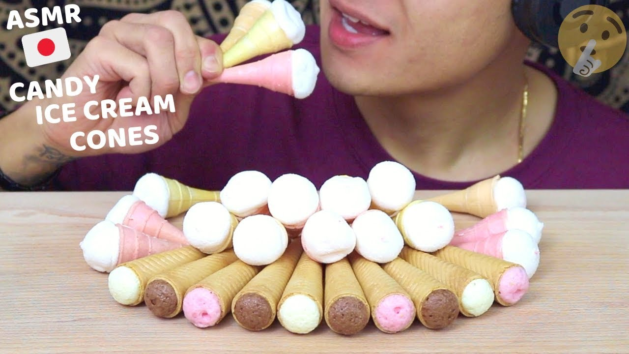 ASMR JAPANESE MINI CANDY ICE CREAM CONES | Crunchy No Talking Satisfying Eating Sounds