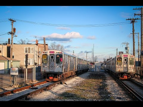 Chicago Transit Authority Pink Line Trains cross Cicero