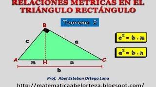 RELACIONES MÉTRICAS EN EL TRIÁNGULO RECTÁNGULO: TEOREMA 2