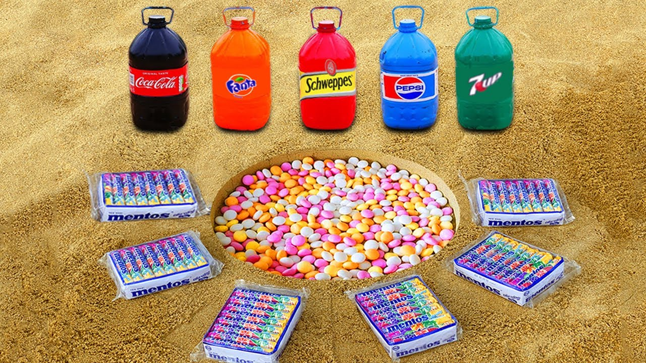 Big Coca Cola, Fanta , Schweppes , 7Up, Pepsi VS Mentos in Big Underground!