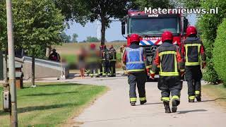 Tarwedroger in brand in Woldendorp