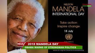 OBAMA WARNS OF STRONGMAN POLITICS AT MANDELA DAY