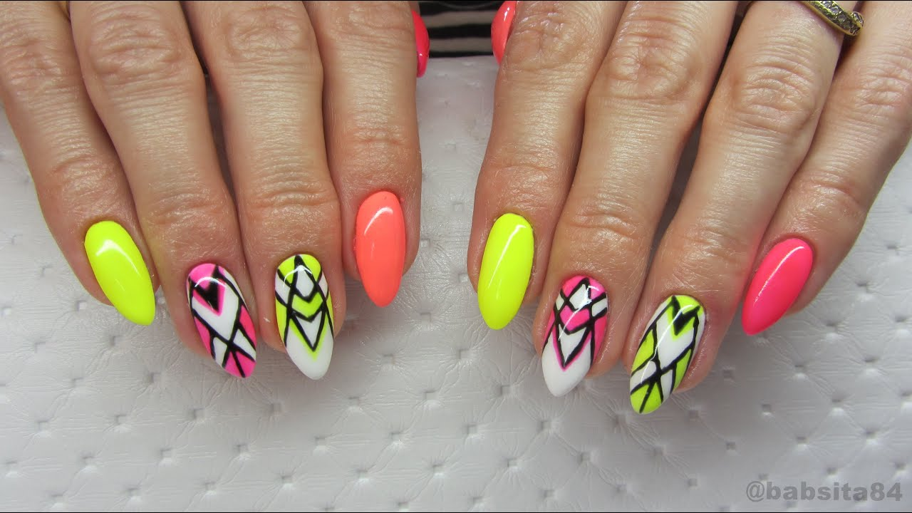 Geometric Neon Nails Semilac Hardi White Neon Raspberry Canary