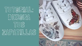 Tutorial Decora tus zapatillas de tela usando decoupage