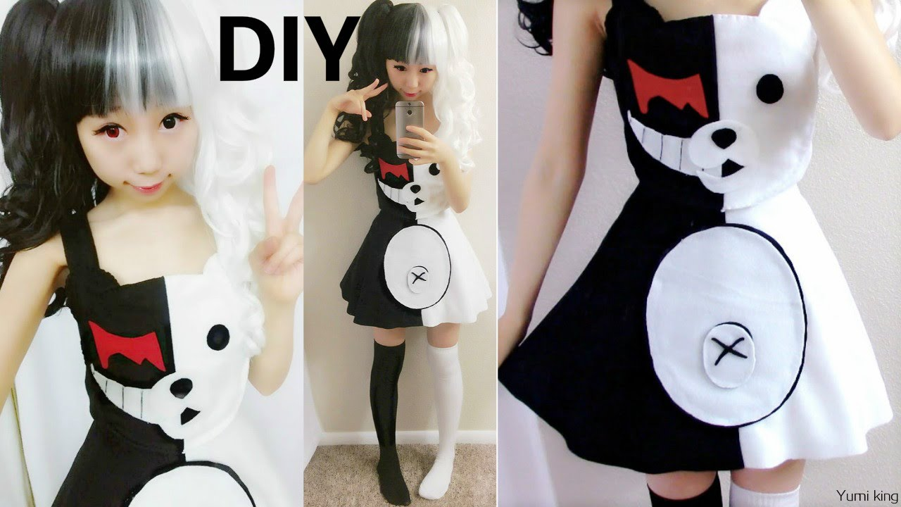 diy halloween costume: half white and half black evil bear costume