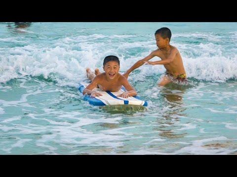 NORTH KOREAN KIDS 1ST TIME SURFING - North Korea Day 9