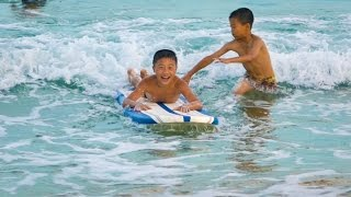 NORTH KOREAN KIDS 1ST TIME SURFING - North Korea Day 9
