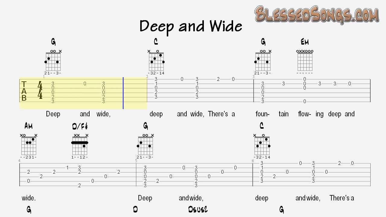 Deep And Wide Sunday School Songs For Guitar Tablature And Chords