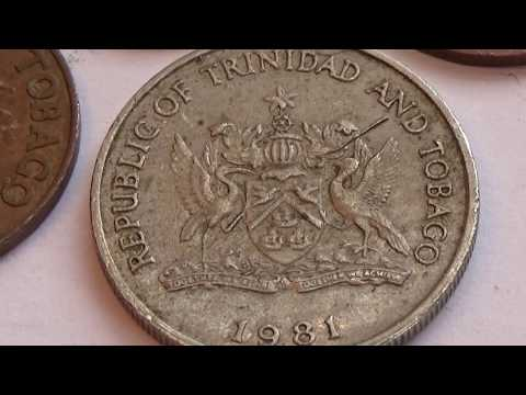 Four 1 Cent and 1 - 25 Cent Trinidad and Tobaco Coins