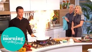 Gino's Heating Things Up in the Kitchen With His Flamed Brandy Steak | This Morning