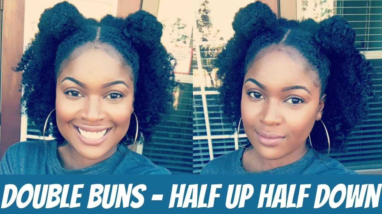 Double Bun Half Up Half Down Natural Hair Style Youtube