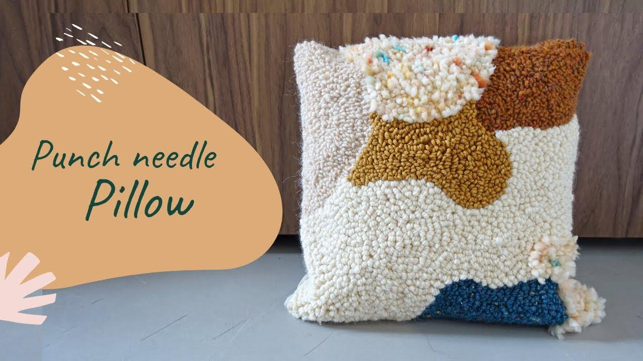diy home decor punch needle pillow tutorial boho style