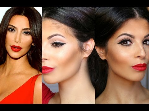 Kim Kardashian Makeup Tutorial | Red Lips Winged Liner Mp3