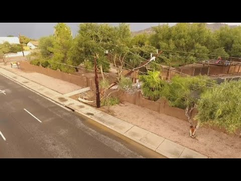 DRONE VIDEO: Downed power poles at 32nd Street and Shea Boulevard