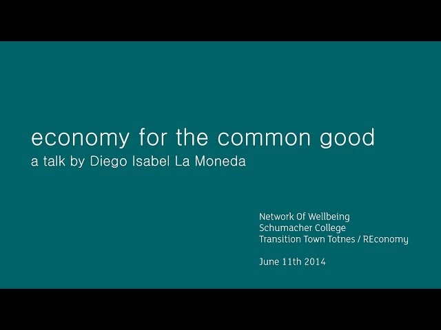 Diego Isabel, Economy for the Common Good
