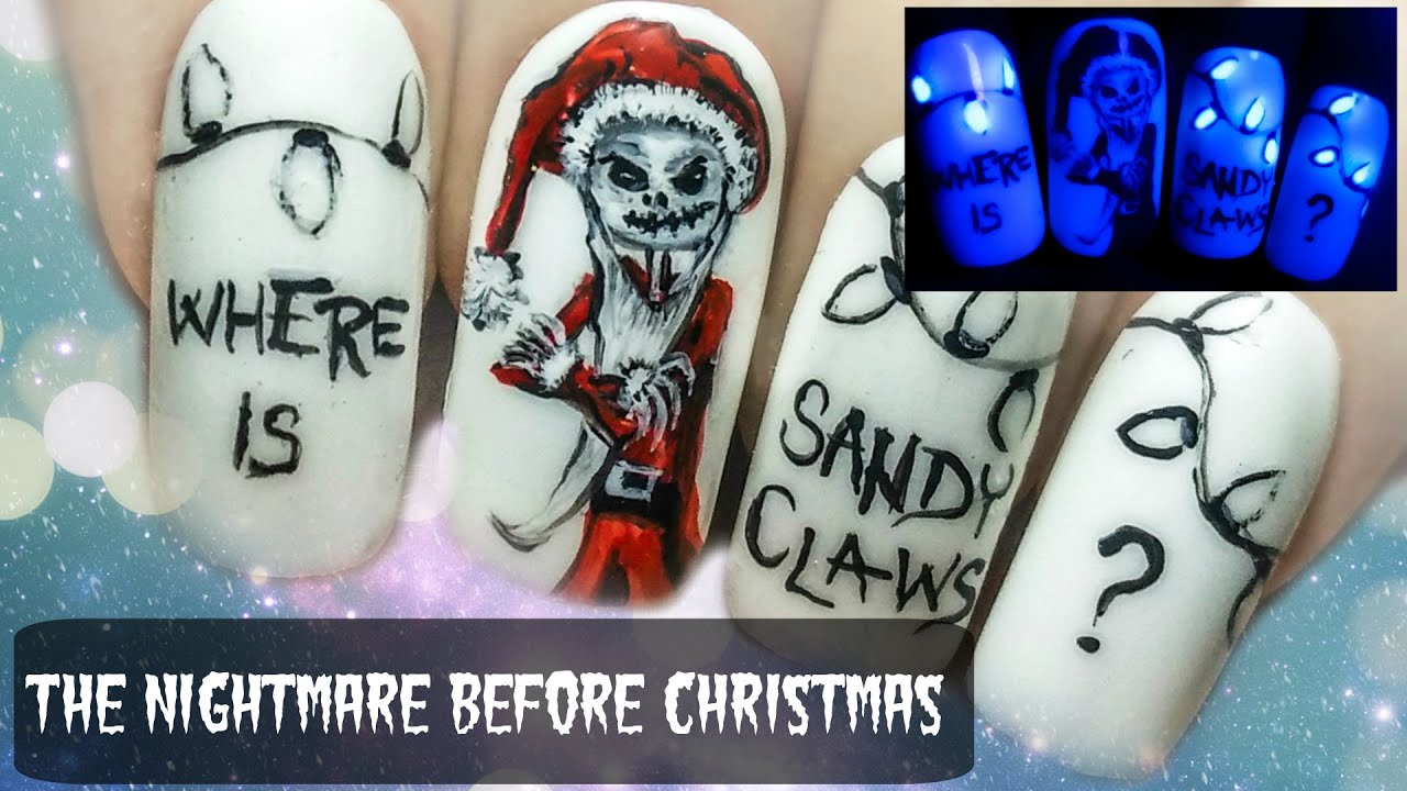 The Nightmare Before Christmas Glow In The Dark Freehand Nail Art