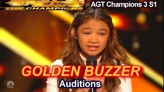 Angelica Hale wins Golden Buzzer sings Fight Song Audition| America's Got Talent The Champions 3 AGT