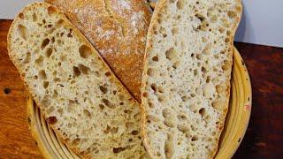 ЧИАБАТТА НА ЗАКВАСКЕ Секрет больших дырок в мякише Рецепт хлеб на закваске CIABATTA BREAD