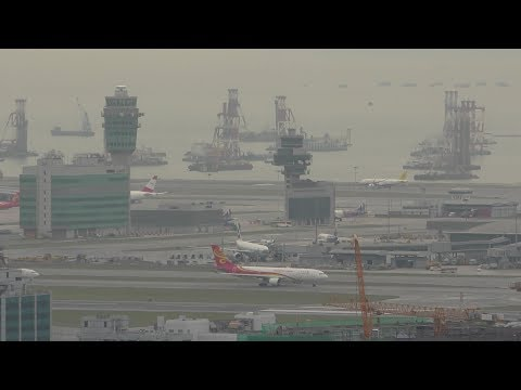 🔴 Hong Kong Airport 24 hour stream euro heavy arrivals crosswind landings