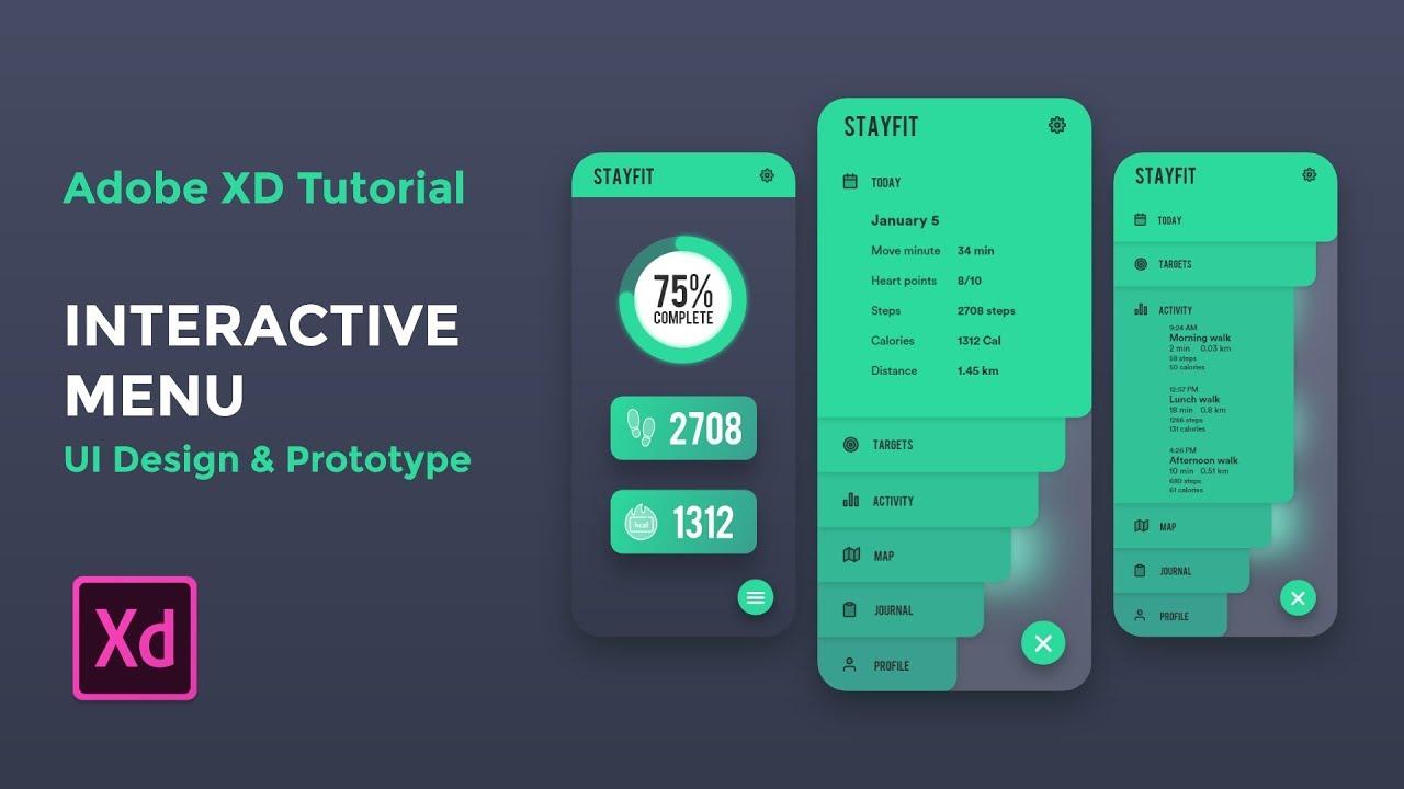 Interactive Menu (UI design & Prototype) – Adobe XD tutorial [2019]