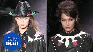 Sister act: Gigi and Bella catwalk for Anna Sui's Fashion Show - Daily Mail