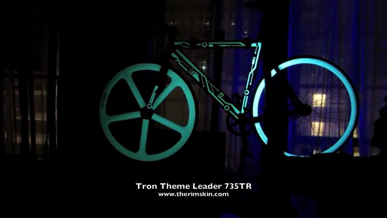 tron theme glow in the dark fixed gear bike youtube
