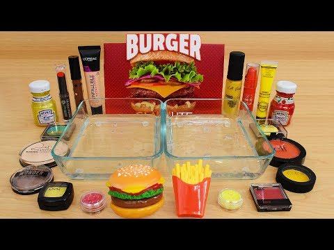 Burger vs Fries - Mixing Makeup Eyeshadow Into Slime Special Series 237 Satisfying Slime Video