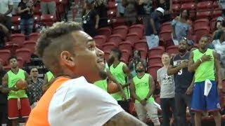 chris brown enjoys the national anthem at charity basketball game