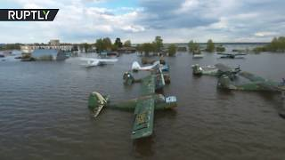 Aerial: Massive flooding hits Russian airfield