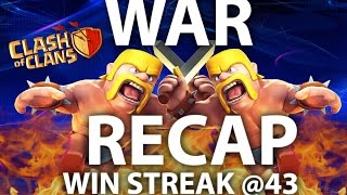 Clash Of Clans - War Recap 3 Star Queen Walk Attack Strategies. WIN STREAK @43 th9 th10 th11