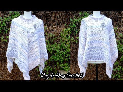 How To Crochet – An Easy Poncho   Snow on the Alps   Bag O Day Crochet Tutorial #549