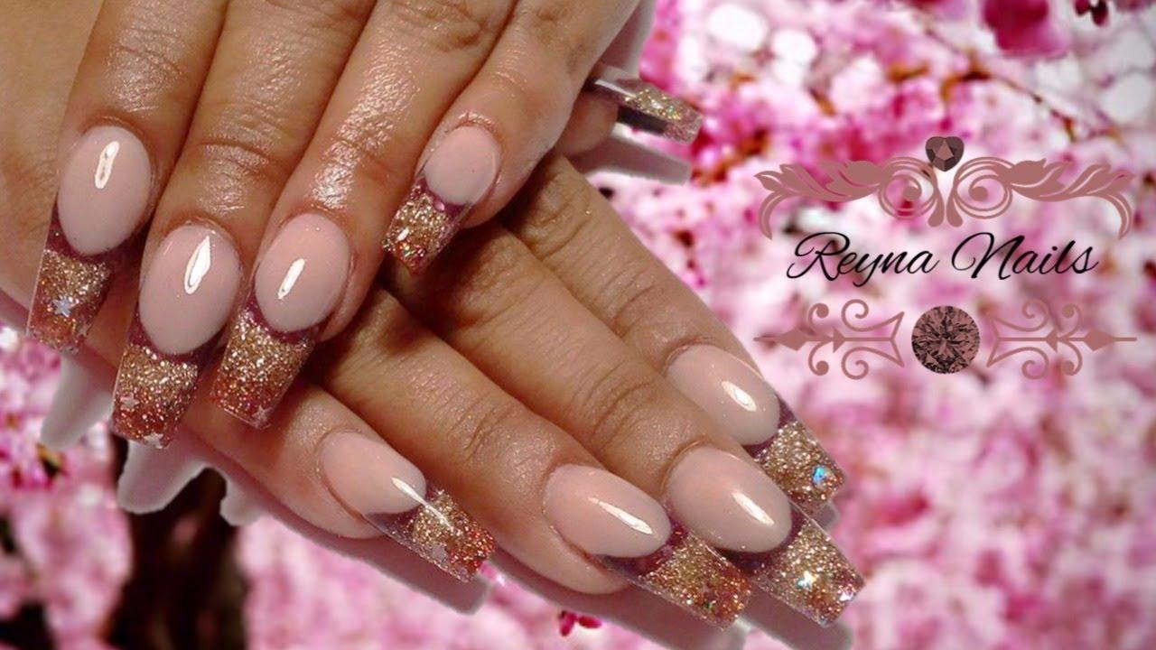 ♥♥Uñas en tonos morado, ocre y dorado/uñas con almendra/By Reyna ...