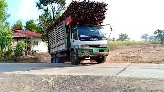 รถพ่วงขนอ้อยออกจากไร่,-isuzu-deca-270,-dump-track