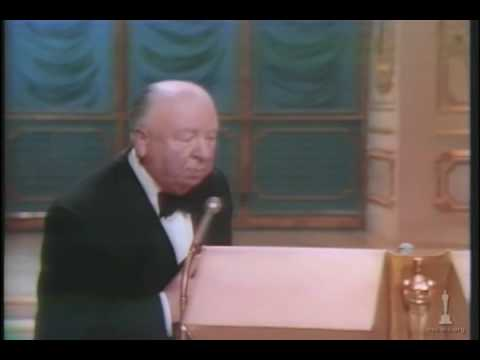 Alfred Hitchcock receiving the Irving G. Thalberg Memorial Award