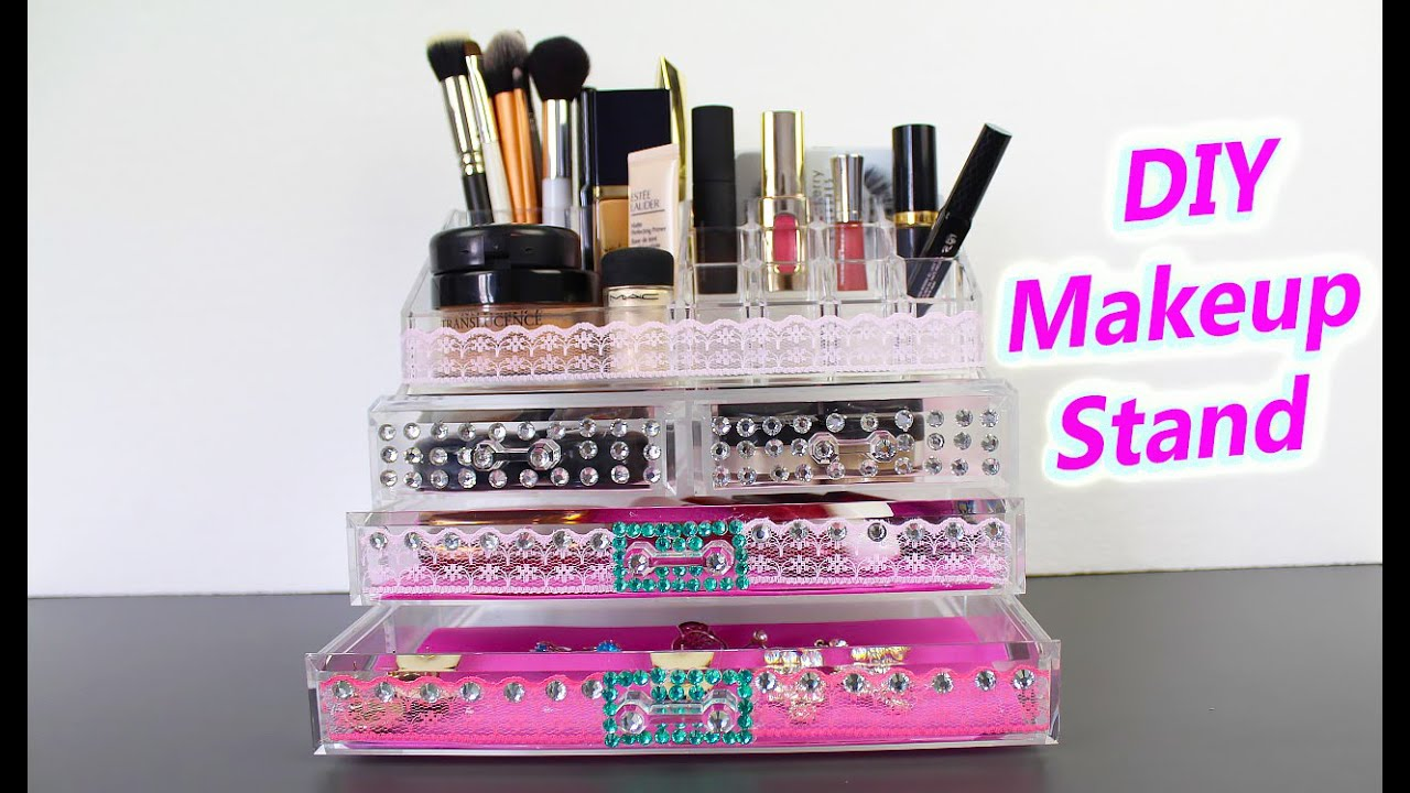 Diy Makeup Storage  Makeup Stand And Organization  Youtube. Chair Tables. Table Refinishing. Table Lamp White. Classic Drawer Pulls. Standard Chartered Credit Card Bill Desk. Silver Drawers. Queen Bed With Drawers Underneath Ikea. Computer Cable Organizer For Desk
