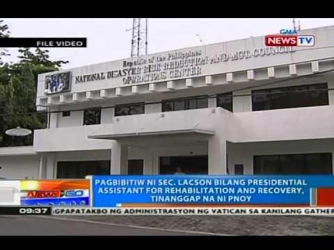 Pagbibitiw ni Sec. Lacson bilang presidential assistant for rehabilitation & recovery, tinanggap na