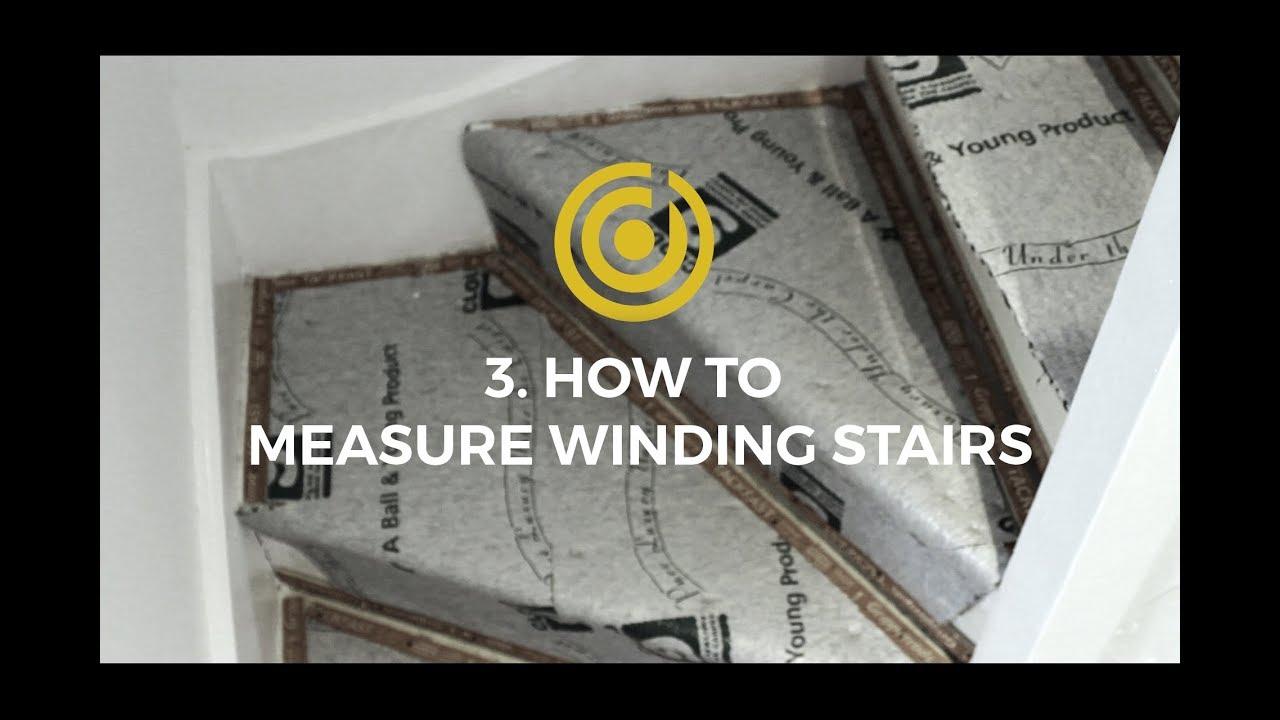 Designer Carpet Measuring Videos 3 How To Measure Winding Stairs   Measuring Stairs For Carpet   Square Feet   Square Foot   Rug   Stair Runner   Flooring